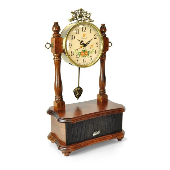 Pyle - PVNTLCL51BT , Sound and Recording , Turntables - Phonographs , 2-in-1 Retro Vintage Style Clock & Bluetooth Stereo Speaker System