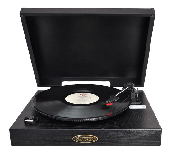 Pyle - PVNTT1B , DJ Equipment , Turntables , Classic Retro USB-To-PC Phonograph/Turntable With Aux-Input Jack (Black)