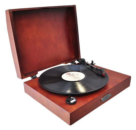 Pyle - PVNTT1R , Sound and Recording , Turntables - Phonographs , Classic Retro USB Phonograph/Turntable With Aux-Input Jack (Mahogany)