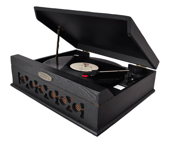 Pyle - PVNTT6UMB , DJ Equipment , Turntables , Vintage Style Phonograph/Turntable With USB-To-PC Connection (Black)