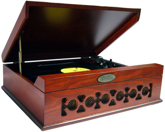 Pyle - PVNTT6UMR , DJ Equipment , Turntables , Vintage Style Phonograph/Turntable With USB-To-PC Connection (Mahogany)