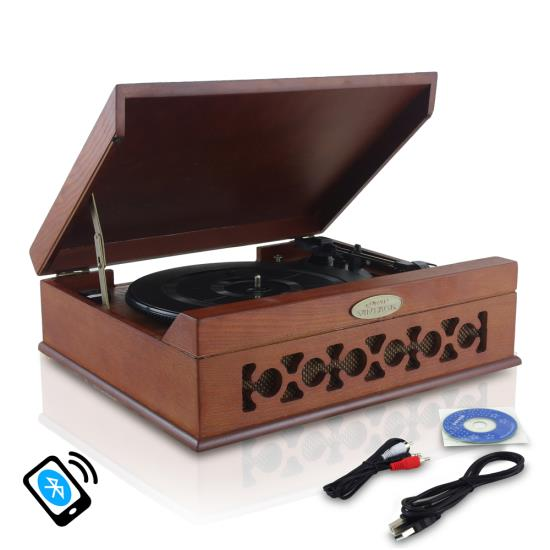 Pyle - PVNTT6UMRBT , Musical Instruments , Turntables - Phonographs , Sound and Recording , Turntables - Phonographs , Vintage Classic-Style Bluetooth Turntable Vinyl Record Player with Vinyl-to-MP3 Recording