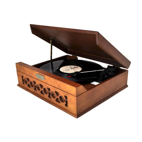 Pyle - PVNTT6UMT , DJ Equipment , Turntables , Vintage Style Phonograph/Turntable With USB-To-PC Connection (Dark Maple)
