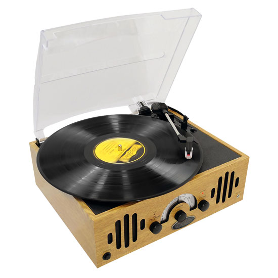 Pyle - PVNTTR22 , Musical Instruments , Turntables - Phonographs , Sound and Recording , Turntables - Phonographs , Retro Belt-Drive Turntable With Three Speeds and AM/FM Radio