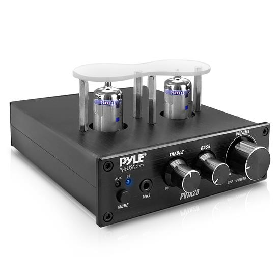 Pyle - PVTA20 , Sound and Recording , Amplifiers - Receivers , Bluetooth Tube Amplifier Stereo Receiver - 2 Vacuum Tube Power Amp, Multimedia Disc Inputs(L/R), 600 Watts