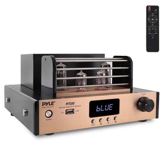 Pyle - PVTA90 , Sound and Recording , Amplifiers - Receivers , Bluetooth Tube Amplifier Stereo Receiver - 4 Vacuum Tube Power Amp, Built-in USB Playback, LED Display, Multimedia Disc Inputs(L/R), Optical/Coaxial Inputs Jack, Subwoofer Output, 700 Watts