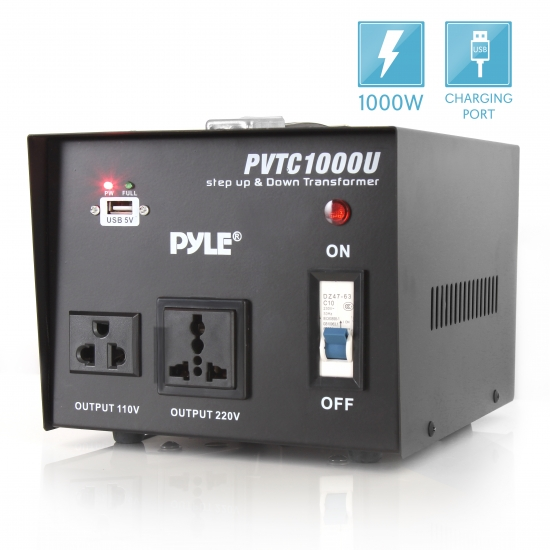Pyle - PVTC1000U , Home and Office , Power Supply - Converters , On the Road , Power Supply - Converters , Step Up and Step Down 1000 Watt Voltage Converter Transformer with USB Charging Port - AC 110/220 V