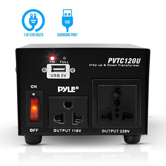 Pyle - PVTC120U , Home and Office , Power Supply - Power Converters , On the Road , Power Supply - Power Converters , Step Up and Down 100 Watt Voltage Converter Transformer with USB Charging Port - AC 110/220 Volts