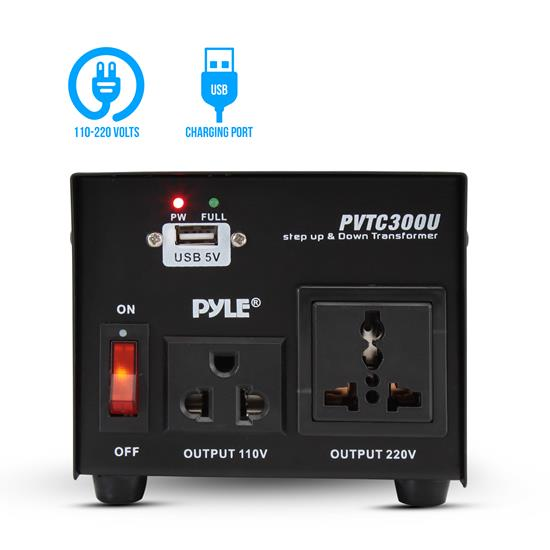 Pyle - PVTC300U , Home and Office , Power Supply - Converters - Surge Protectors , 300 Watt Step Up and Step Down Voltage Converter Transformer with USB Charging Port - AC 110/220 V