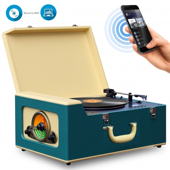 Pyle - PVTT15UBT , Sound and Recording , Turntables - Phonographs , Bluetooth Vintage Classic-Style Turntable Speaker System, Vinyl-to-MP3 Recording, CD Player, AM/FM Radio, MP3/USB/SD Readers