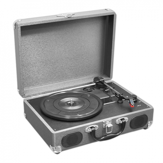 Pyle - PVTT2UGR , Musical Instruments , Turntables - Phonographs , Sound and Recording , Turntables - Phonographs , Portable Classic Retro-Style Turntable System with USB-to-PC Connection, Rechargeable Battery (Grey Color)