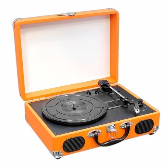 Pyle - PVTT2UOR , Musical Instruments , Turntables - Phonographs , Sound and Recording , Turntables - Phonographs , Portable Classic Retro-Style Turntable System with USB-to-PC Connection, Rechargeable Battery (Orange Color)