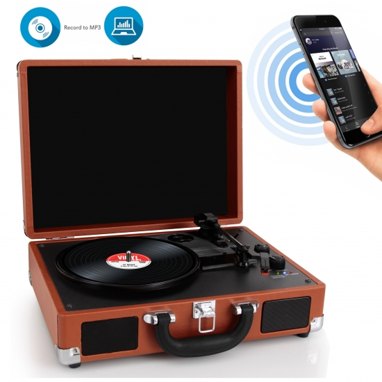 Pyle - PVTTBT6BR , Musical Instruments , Turntables - Phonographs , Sound and Recording , Turntables - Phonographs , Portable Vintage Classic-Style Bluetooth Turntable System with Vinyl-to-MP3 Recording, Built-in Speakers & Rechargeable Battery