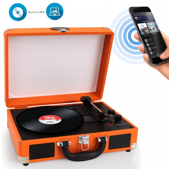 Pyle - PVTTBT6OR , Musical Instruments , Turntables - Phonographs , Sound and Recording , Turntables - Phonographs , Portable Vintage Classic-Style Bluetooth Turntable System with Vinyl-to-MP3 Recording, Built-in Speakers & Rechargeable Battery