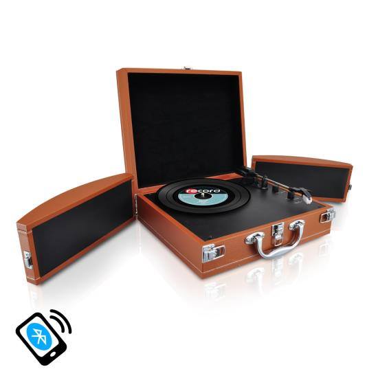 Pyle - AZPVTTBT8BR , Musical Instruments , Turntables - Phonographs , Sound and Recording , Turntables - Phonographs , Bluetooth Classic Vinyl Record Player Turntable with Vinyl to MP3 Recording, Aux Input, RCA Output, Built-in Rechargeable Battery & Fold-Out Speakers