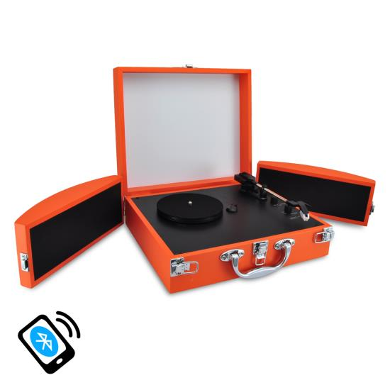 Pyle - PVTTBT8OR , Musical Instruments , Turntables - Phonographs , Sound and Recording , Turntables - Phonographs , Bluetooth Classic Vinyl Record Player Turntable with Vinyl to MP3 Recording, Aux Input, RCA Output, Built-in Rechargeable Battery & Fold-Out Speakers