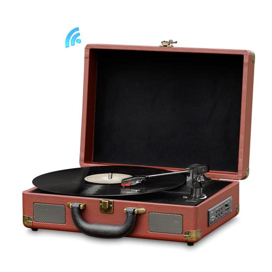 Pyle - PVTTBT9BR , Sound and Recording , Turntables - Phonographs , Bluetooth Classic Vintage Style Turntable Speaker System, Vinyl-to-MP3 Recording, MP3/USB/SD Readers, Briefcase-Style (Brown)