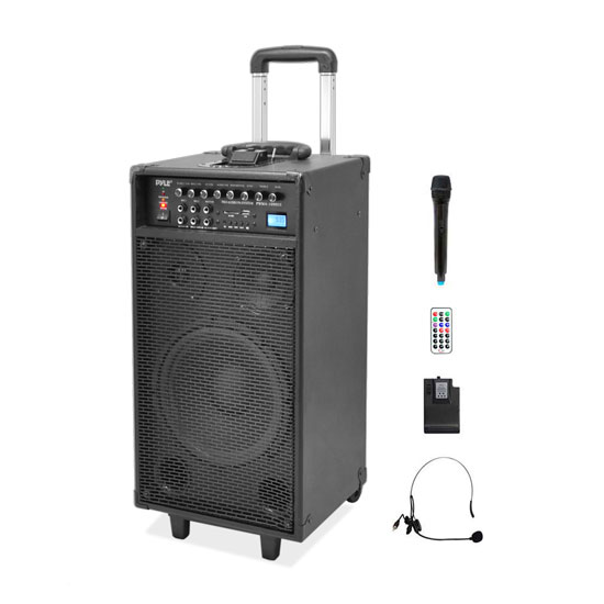 Pyle - PWMA1090UI , Sound and Recording , PA Loudspeakers - Cabinet Speakers , Wireless & Portable PA Speaker System Kit with Built-in Rechargeable Battery, FM Radio (Wireless Handheld Mic, Headset Lavalier Mic, Remote Control) 800 Watt