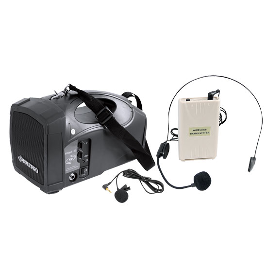 Pyle - PWMA150 , Sound and Recording , PA Loudspeakers - Cabinet Speakers , Portable PA Wireless Speaker System Amplifier With Belt Pack Lavalier/ Headsets w/Two Microphone Inputs