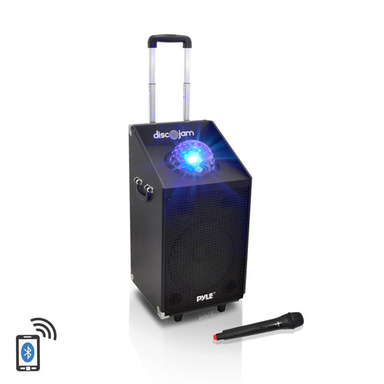 Pyle - PWMA1594UFM , Sound and Recording , PA Loudspeakers - Cabinet Speakers , 600 Watt Bluetooth Battery Powered Portable PA Speaker System w/ USB/SD Readers, FM Radio, AUX Input, Wireless Microphone and Flashing Lights