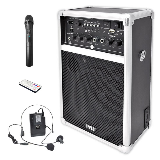 Pyle - PWMA170 , Sound and Recording , PA Loudspeakers - Molded Cabinet Systems , Dual Channel 400 Watt Wireless PA System W/USB/SD/MP3, 2 VHF Wireless Microphones (1 Lavalier, 1 Handheld)
