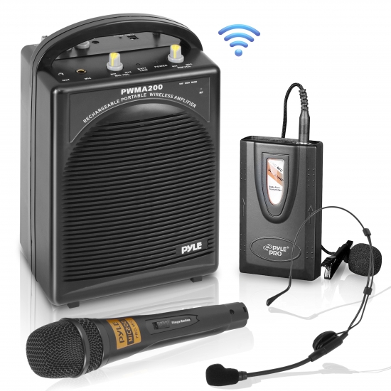 Pyle - PWMA200 , DJ Equipment , Wireless PA Systems , Rechargeable Portable PA System with Wireless Lavalier/Headset MIC and 1 Wired Mic