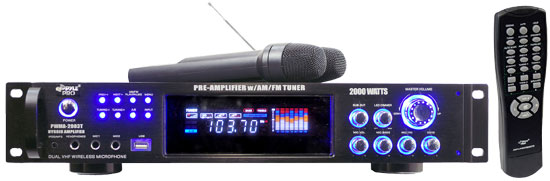 Pyle - PWMA2003T , DJ Equipment , Power Amplifiers , 2000 Watts Hybrid Pre-Amplifier W/AM-FM Tuner/USB/Dual Wireless Mic
