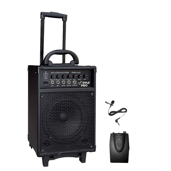 Pyle - PWMA260 , Sound and Recording , PA Loudspeakers - Cabinet Speakers , 300 Watt Wireless Rechageable Portable PA System With Lavalier Microphone