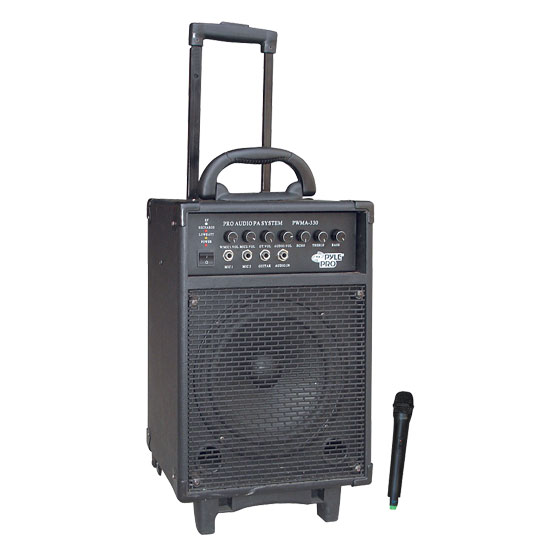 Pyle - PWMA330 , Sound and Recording , PA Loudspeakers - Cabinet Speakers , 300 Watt VHF Wireless Battery Powered PA System W/Echo