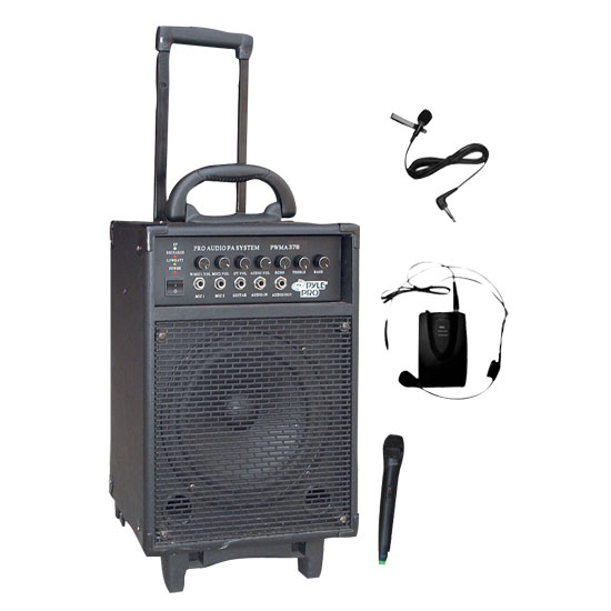 Pyle - PWMA370 , Sound and Recording , PA Loudspeakers - Cabinet Speakers , 300 Watt Dual Channel Wireless Rechageable Portable PA System With Handheld Mic and Lavalier/Headset Mic