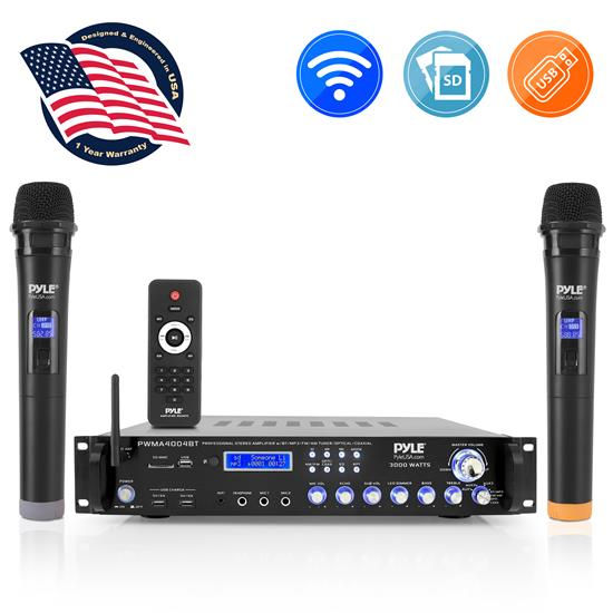 Pyle - PWMA4004BT , Sound and Recording , Amplifiers - Receivers , Bluetooth Hybrid Amplifier Receiver - Pro Audio Multi-Channel Stereo Pre-Amplifier System with (2) UHF Wireless Microphones & Digital Optical/Coax, MP3/USB/SD Readers, FM/AM Radio, Rack Mount (3000 Watt)