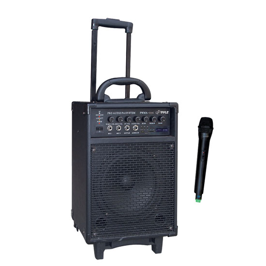 Pyle - PWMA430U , DJ Equipment , Wireless PA Systems , 300 Watt Wireless Rechageable Portable PA System With FM/USB/SD W/Handheld Microphone   is there 3.5mm hole to put on speaker stand