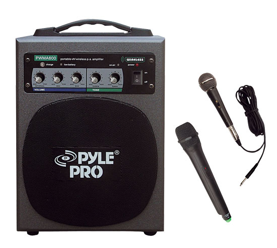 Pyle - PWMA600 , Sound and Recording , PA Loudspeakers - Molded Cabinet Systems , 100 Watt Wireless Battery Powered PA System