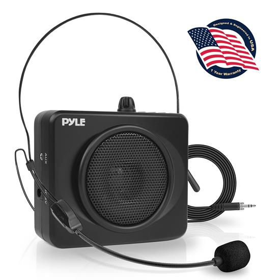 Pyle - PWMA60UB , Sound and Recording , PA Loudspeakers - Cabinet Speakers , Compact & Portable Waist-Band PA Speaker System | Voice Amplifier & Microphone Headset with Built-in Rechargeable Battery & MP3/USB Playback