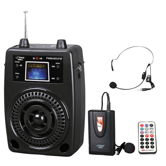 Pyle - PWMA80UFM , DJ Equipment , Wireless PA Systems , 100 W Portable PA System With Included Wireless Lavalier Microphone, FM Radio, MP3/USB/SD, and Aux-In/Out