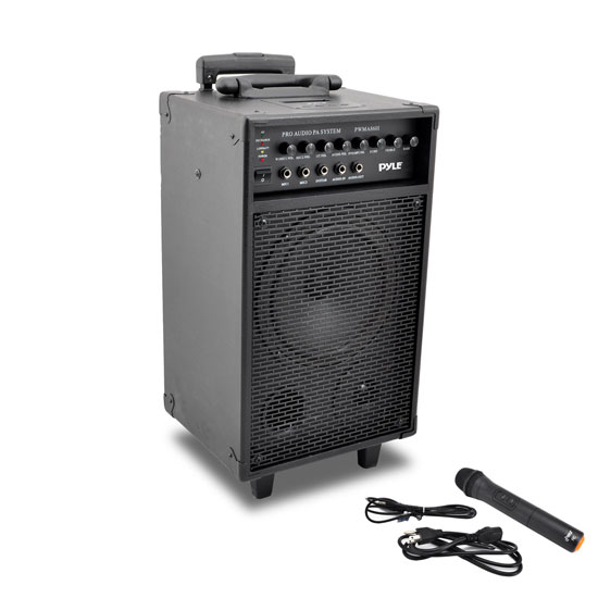 Pyle - PWMA860I , Sound and Recording , PA Loudspeakers - Cabinet Speakers , Wireless and Portable PA Speaker Sound System with 30-Pin iPod/iPhone Dock, Built-in Rechargeable Battery, Includes Wireless Handheld Microphone, 500 Watt