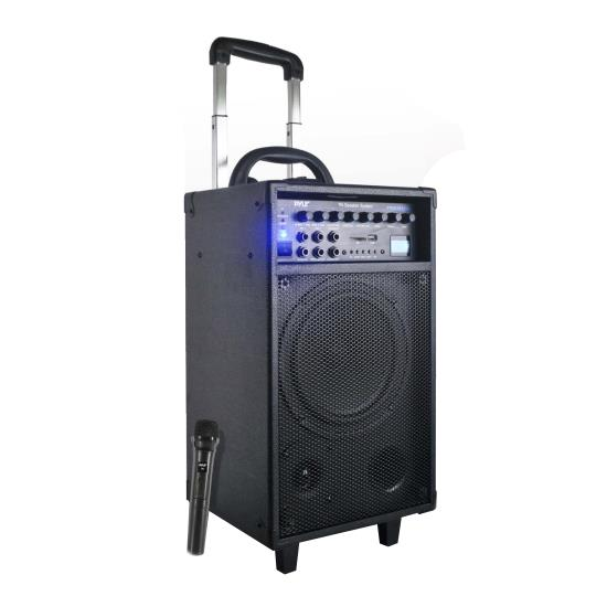 Pyle - PWMA890UI , Sound and Recording , PA Loudspeakers, Molded Cabinet Systems , 500 Watt Dual Channel Wireless Rechageable Portable PA System With iPod/iPhone Dock, FM/USB/SD, Handheld Microphone, and Lavalier Microphone