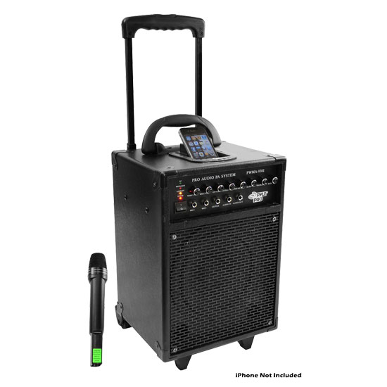 Pyle - PWMA930I , DJ Equipment , Wireless PA Systems , 600 Watt VHF Wireless Portable PA System/Echo W/Ipod Dock