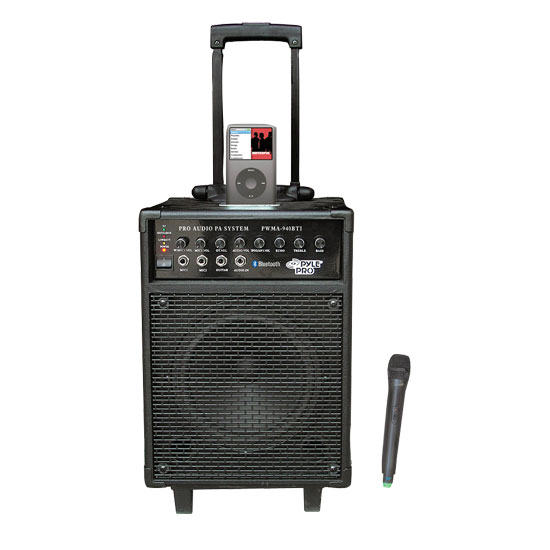 Pyle - RBPWMA940BTI , DJ Equipment , Wireless PA Systems , 600 Watts VHF Wireless Portable PA System w/Microphone,i-Pod Dock & Bluetooth