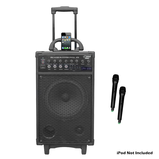 Pyle - PWMA970 , Sound and Recording , PA Loudspeakers - Cabinet Speakers , 300 Watt Dual Channel Wireless Rechageable Portable PA System With iPod/iPhone Dock, FM Radio /USB/SD, and 2 Handheld Microphones