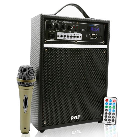 Pyle - PWMAB250BK , DJ Equipment , Wireless PA Systems , 300 Watt Bluetooth 6.5'' Portable PA Speaker System with Built-in Rechargeable Battery, Wired Microphone & FM Radio
