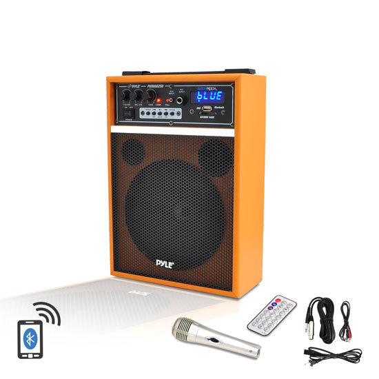 Pyle - PWMAB250OR , DJ Equipment , Wireless PA Systems , 300 Watt Bluetooth 6.5'' Portable PA Speaker System with Built-in Rechargeable Battery, Wired Microphone & FM Radio