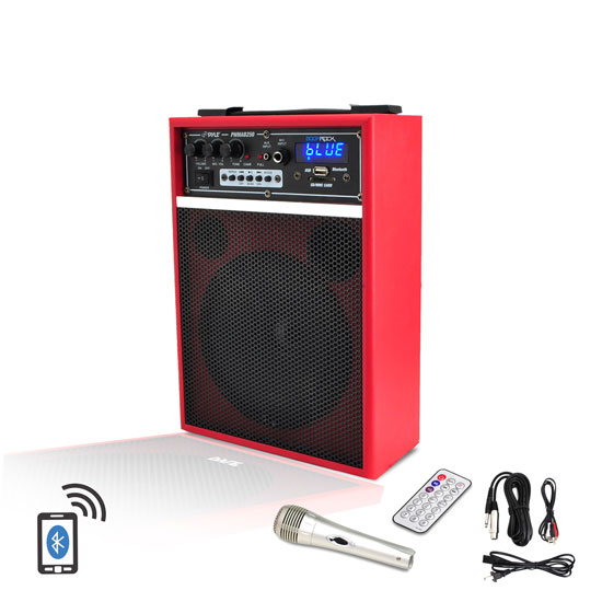 Pyle - PWMAB250RD , Marine and Waterproof , Portable Speakers - Boom Boxes , Gadgets and Handheld , Portable Speakers - Boom Boxes , 300 Watt Bluetooth 6.5'' Portable PA Speaker System with Built-in Rechargeable Battery, Wired Microphone & FM Radio