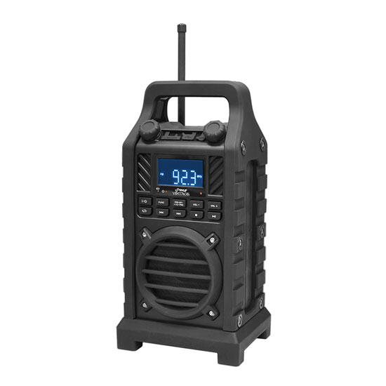 Pyle - PWPBT250BK , Marine and Waterproof , Portable Speakers - Boom Boxes , Gadgets and Handheld , Portable Speakers - Boom Boxes , Rugged and Portable Bluetooth Speaker with Durable Construction, Thick Rubber Casing, FM Radio, USB/SD Card Readers, AUX Input & Built-in Rechargeable Battery (Black)