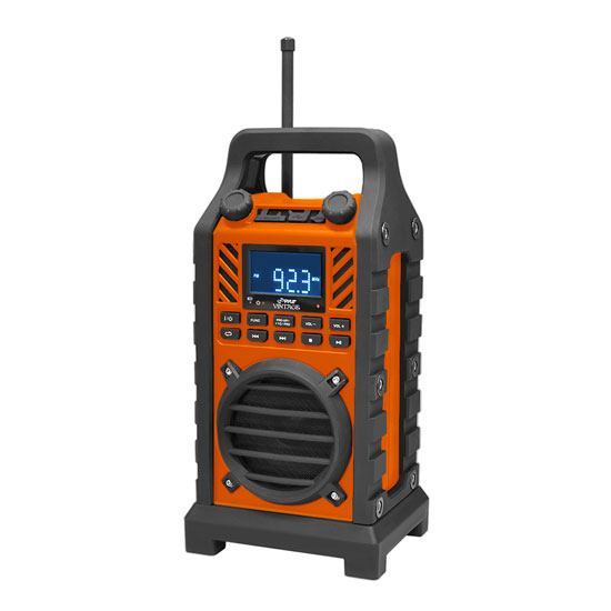 Pyle - PWPBT250OR , Marine and Waterproof , Portable Speakers, Boom Boxes , Gadgets and Handheld , Portable Speakers, Boom Boxes , Rugged and Portable Bluetooth Speaker with Durable Construction, Thick Rubber Casing, FM Radio, USB/SD Card Readers, AUX Input & Built-in Rechargeable Battery (Orange)