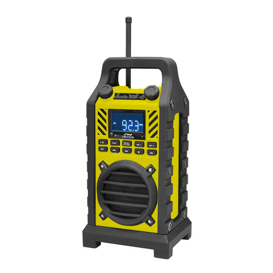 Pyle - PWPBT250YL , Marine and Waterproof , Portable Speakers - Boom Boxes , Gadgets and Handheld , Portable Speakers - Boom Boxes , Rugged and Portable Bluetooth Speaker with Durable Construction, Thick Rubber Casing, FM Radio, USB/SD Card Readers, AUX Input & Built-in Rechargeable Battery (Yellow)