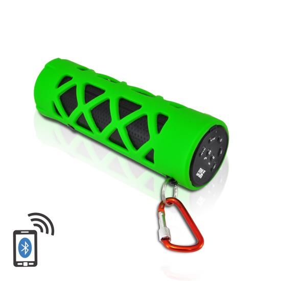Pyle - PWPBT30GN , Marine and Waterproof , Portable Speakers - Boom Boxes , Gadgets and Handheld , Portable Speakers - Boom Boxes , Bluetooth Water Resistant Flashlight Speaker with Call Answering Microphone, FM Radio, Micro SD Card Reader, AUX-Input (Green)