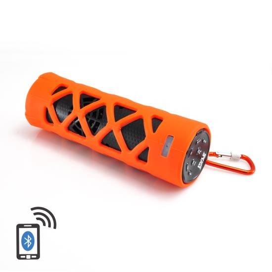 Pyle - PWPBT30OR , Marine and Waterproof , Portable Speakers - Boom Boxes , Gadgets and Handheld , Portable Speakers - Boom Boxes , Bluetooth Water Resistant Flashlight Speaker with Call Answering Microphone, FM Radio, Micro SD Card Reader, AUX-Input (Orange)