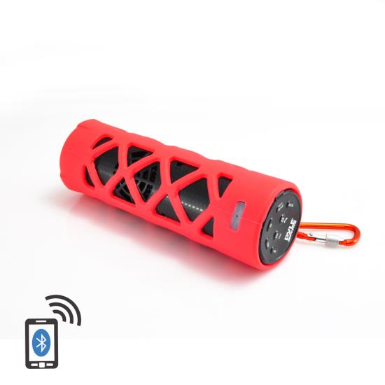 Pyle - PWPBT30RD , Sports and Outdoors , Portable Speakers - Boom Boxes , Gadgets and Handheld , Portable Speakers - Boom Boxes , Bluetooth Water Resistant Flashlight Speaker with Call Answering Microphone, FM Radio, Micro SD Card Reader, AUX-Input (Red)