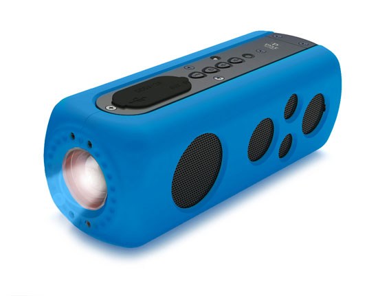 Pyle - PWPBT75BL , Marine and Waterproof , Portable Speakers - Boom Boxes , Gadgets and Handheld , Portable Speakers - Boom Boxes , SoundBox Splash 2 Bluetooth Rugged and Splash-Proof Speaker System with Built-in LED Flashlight, Hand Crank Turbine Charger and AUX Input (Blue Color)